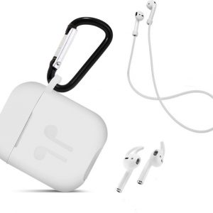 3 in 1 set! Airpods hoesje siliconen case cover beschermhoes + strap + earhoox voor Apple Airpods - wit