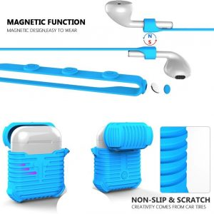 Silicone Series Strap Anti-lost + Shockproof Protective Case Cover Geschikt voor Apple AirPods - Blauw