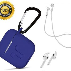 3 in 1 set! Airpods hoesje siliconen case cover beschermhoes + strap voor Apple Airpods - royal blauw