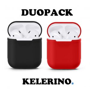 Duo Pack - Airpods Silicone Case Cover Hoesje voor Apple Airpods - Zwart / Rood