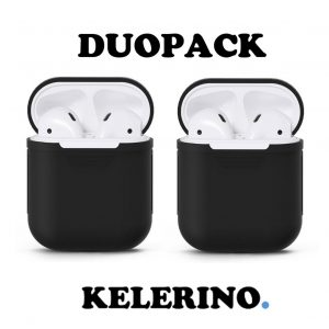 Duo Pack - Airpods Silicone Case Cover Hoesje voor Apple Airpods - Zwart / Zwart