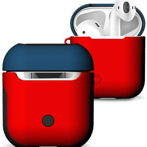 Hybride Silicone Case Cover Hoesje voor Apple Airpods - Rood / Blauw