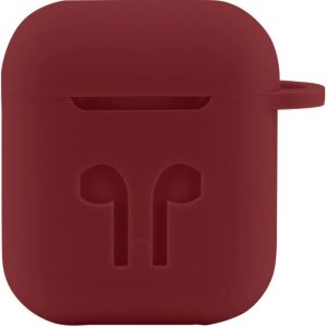 Case Cover Voor Apple Airpods - Siliconen | Donkerrrood | Watchbands-shop.nl