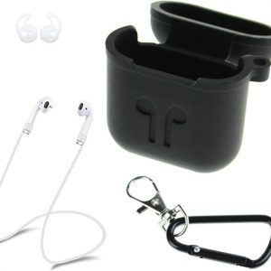 silicone case geschikt for Apple Airpods - 3 in 1 set hoes / strap / earhooks - zwart