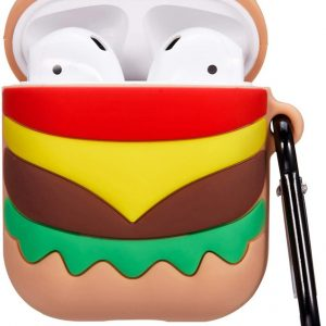 Cartoon Silicone Case voor Apple Airpods - hamburger - met karabijn