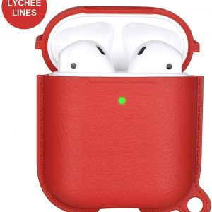 Airpods Carbon Beschermhoes - Cover / Case - Geschikt voor Airpods 1 & Airpods 2 - Lychee Lines Red