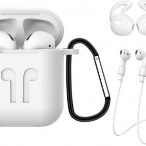 Hoes voor Apple AirPods 1 Hoesje Case 3-in-1 Siliconen Cover - Wit