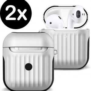 Hoes Voor Apple AirPods 1 Case Hoesje Hard Cover Ribbels - Wit - 2 PACK