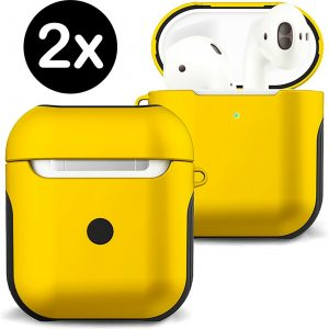 Hoes Voor Apple AirPods 2 Hoesje Case Hard Cover - Geel - 2 PACK