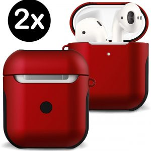Hoes Voor Apple AirPods 2 Hoesje Case Hard Cover - Rood - 2 PACK