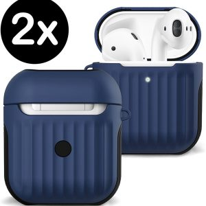 Hoesje Voor Apple AirPods Case Hard Cover Ribbels - Donker Blauw - 2 PACK