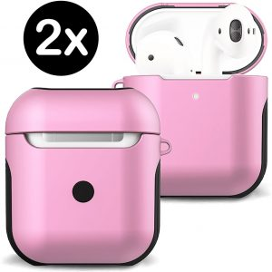 Hoesje Voor Apple AirPods Case Hoes Hard Cover - Licht Roze - 2 PACK
