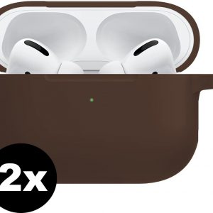 Siliconen Hoes Voor Apple AirPods Pro Hoesje Case - Bruin - 2 PACK