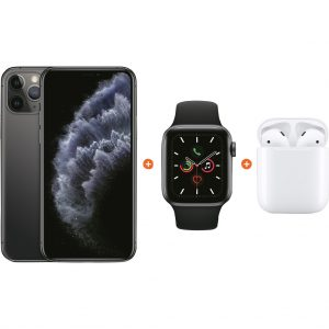 Apple iPhone 11 Pro 64 GB Space Gray + Apple Watch 5 40mm + Apple AirPods 2 met oplaadcase