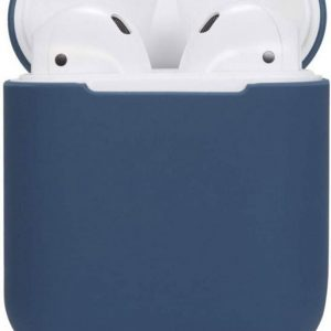 Silicone Hoesje Apple Airpods 1/2 Oplaadcase Cover draadloos Airpods l Airpods Hoesje Siliconen Case - Donkerblauw
