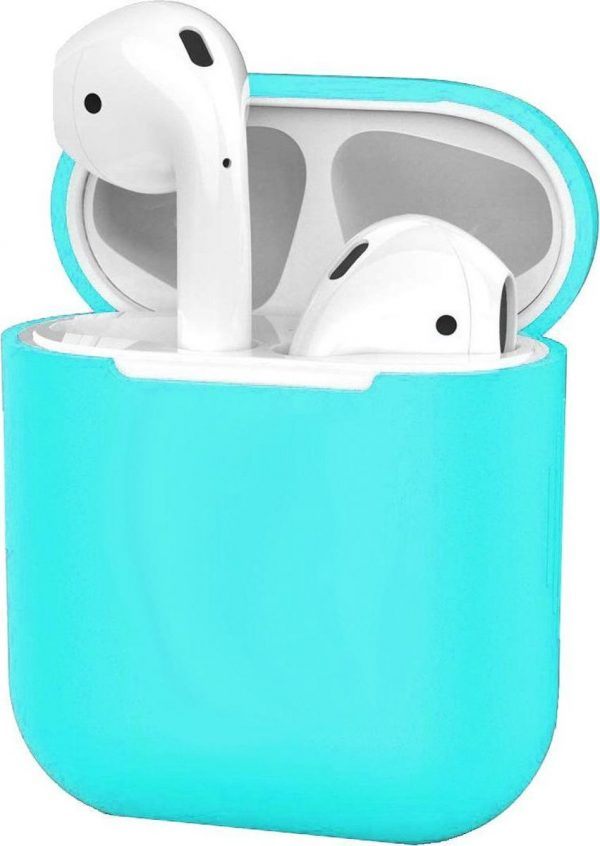 Siliconen Hoes voor Apple AirPods 2 Case Cover Ultra Dun Hoes - Cyaan